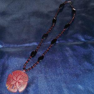 Jewelry - Red Glass Sand Dollar Obsidian Necklace
